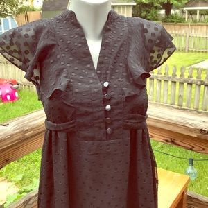 Fossil XS black flutter sleeved dot dress with tie